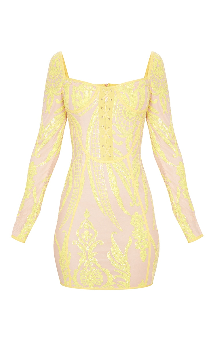Yellow Sequin Patterened Long Sleeve Lace Up Bodice Bodycon Dress 5