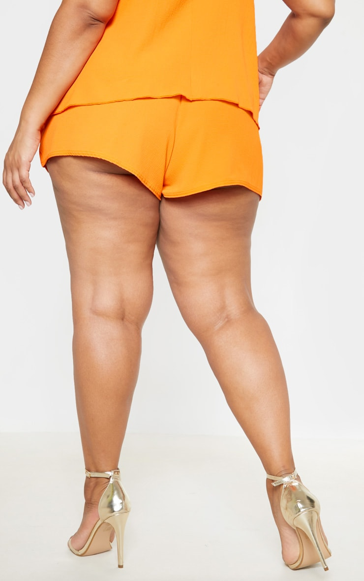 Plus Bright Orange Drawstring Shorts  4