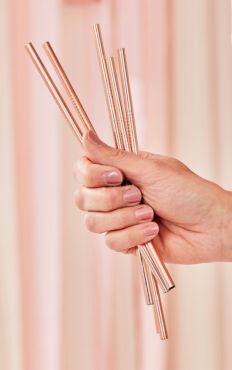 Ginger Ray Rose Gold 5 Pack Stainless Steel Straws 1