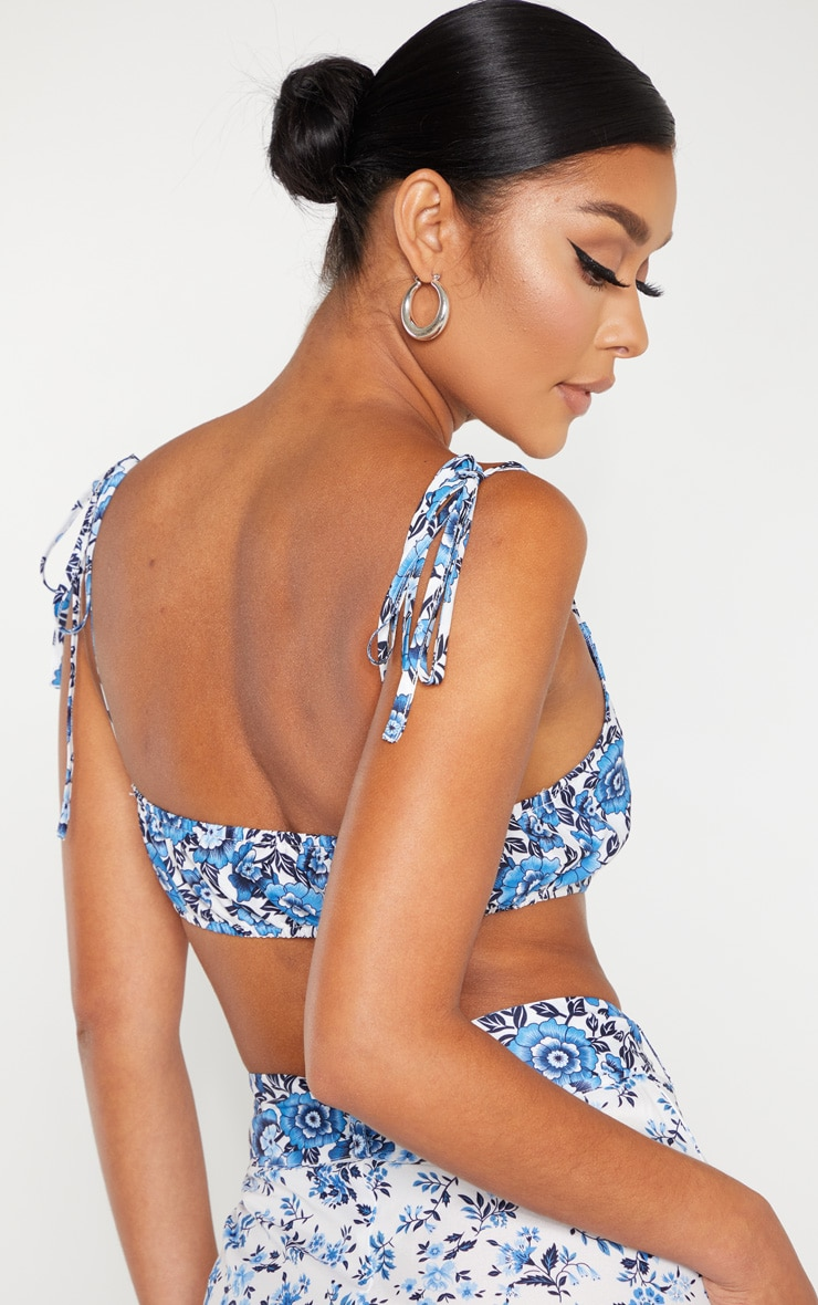 White Woven Paisley Print Extreme Scoop Neck Crop Top 2