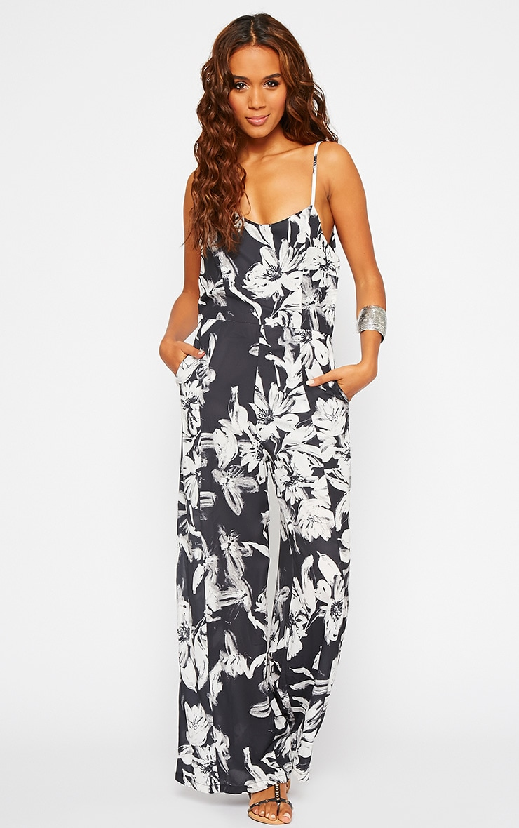 Vidal Black Floral Wide Leg Jumpsuit 1