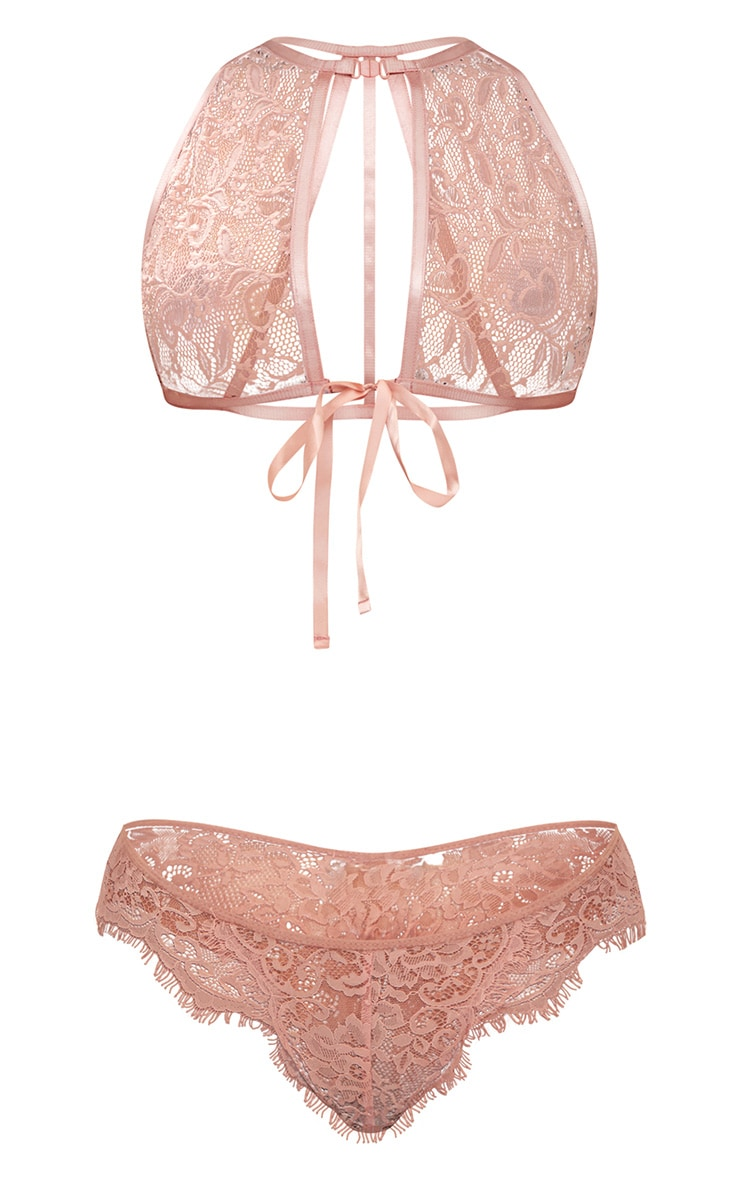 Blush High Neck Lace Bow Tie Bralet 3