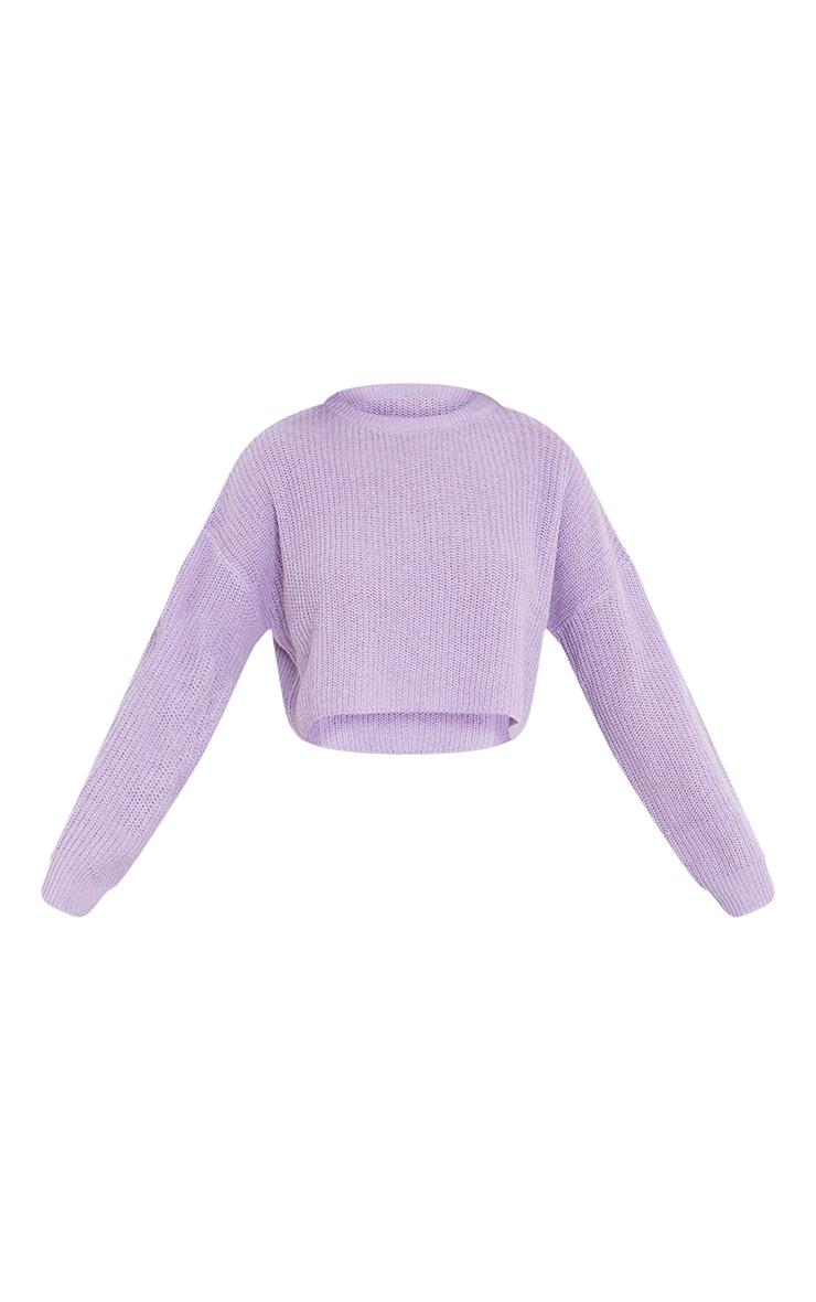 Lilac Basic Crew Neck Crop Jumper 5
