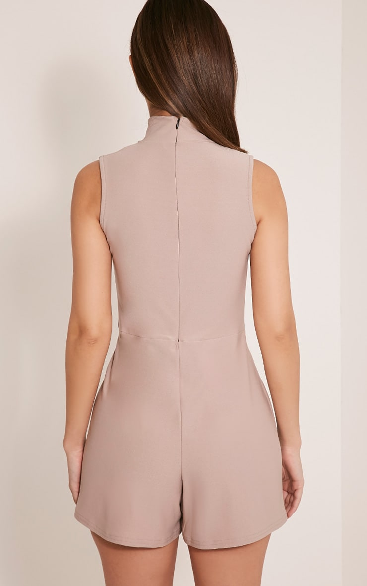 Hilery Taupe Neck Detail Plunge Playsuit 2