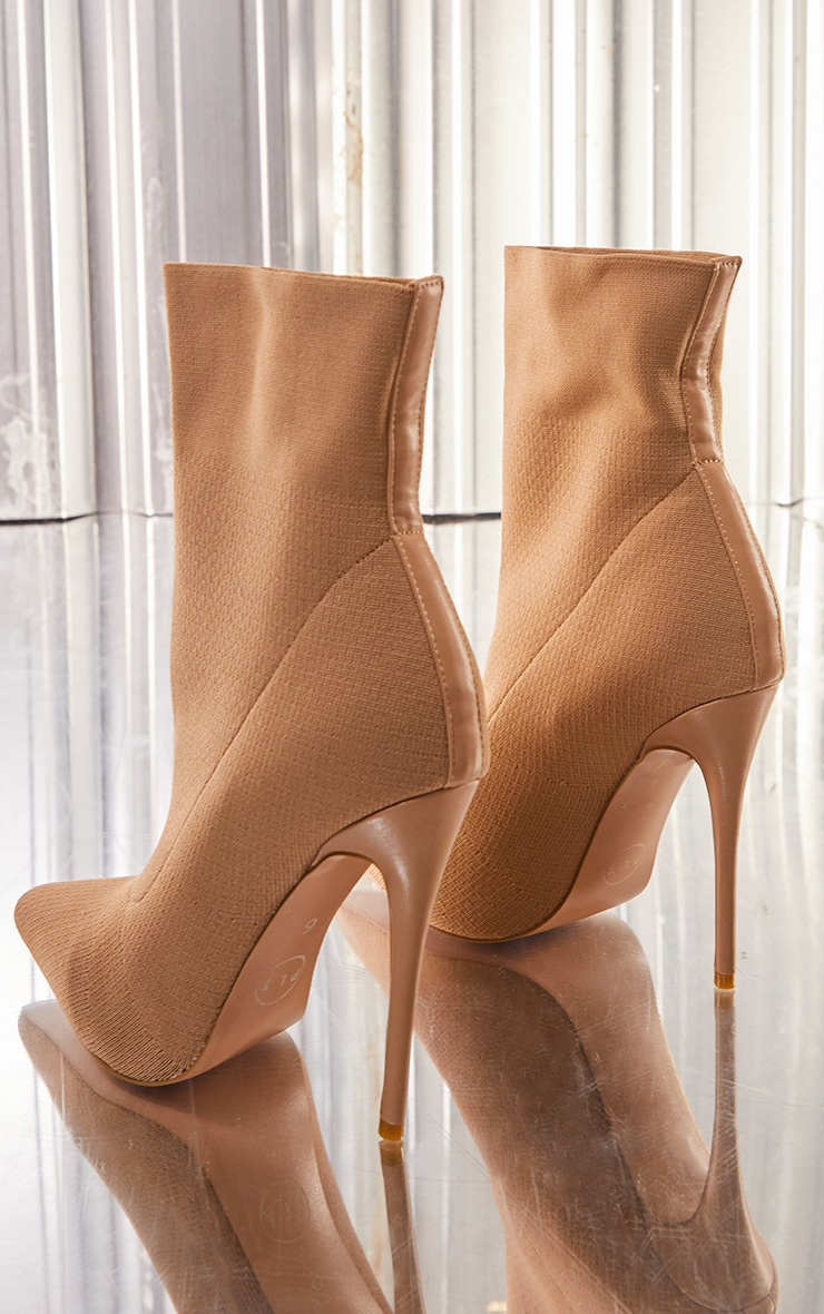 Nude Knitted Pointed Sock Boots 4