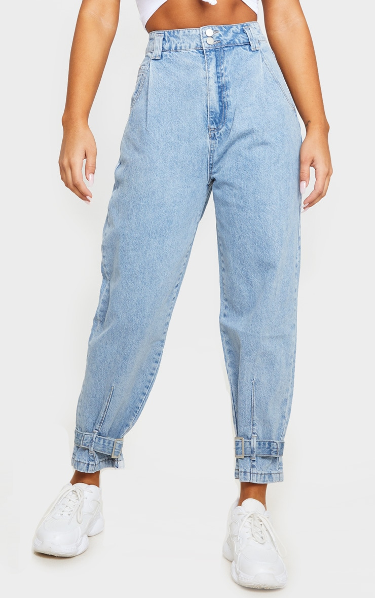 Mid Blue Wash Ankle Buckle Denim Jeans 2