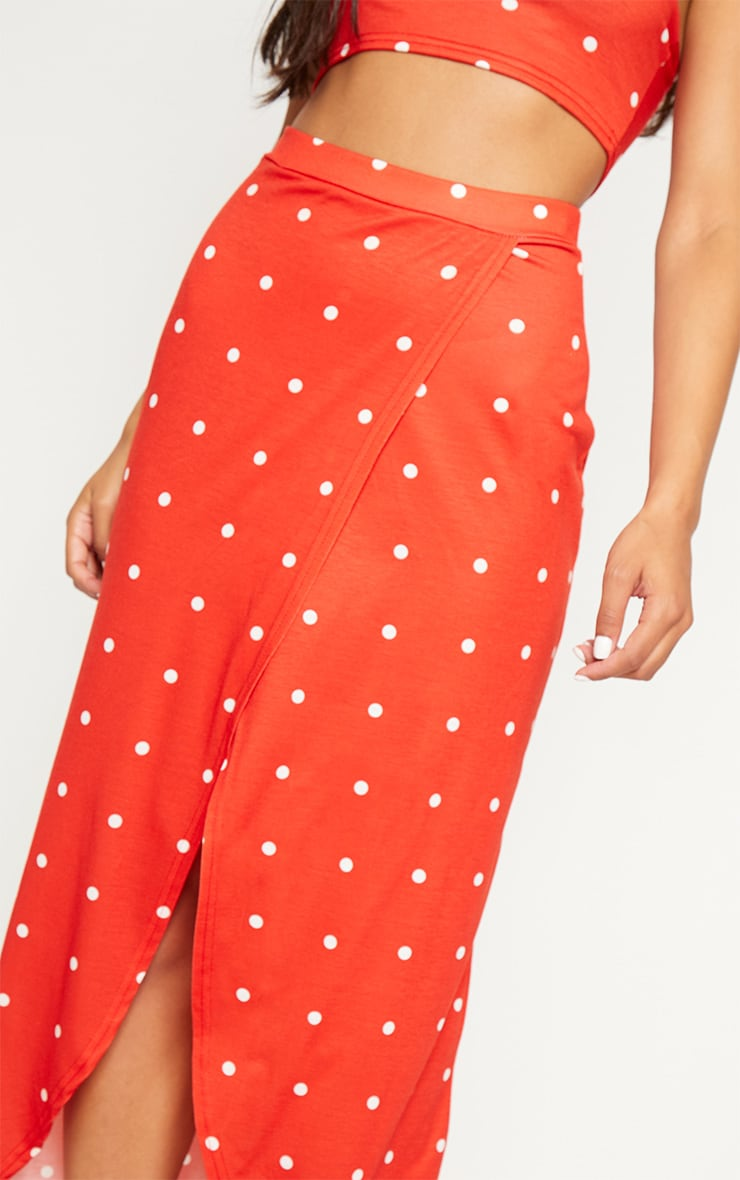 Red Polka Dot Jersey Split Front Maxi Skirt 5