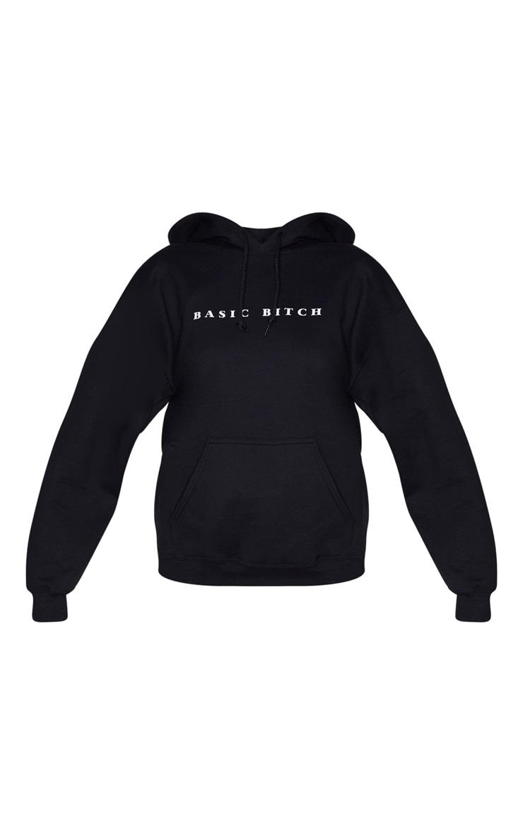 Black Oversized Basic Bitch Hoodie 5