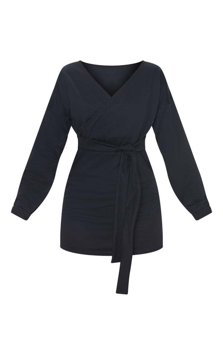 Black Sweat Wrap Bodycon Dress 3