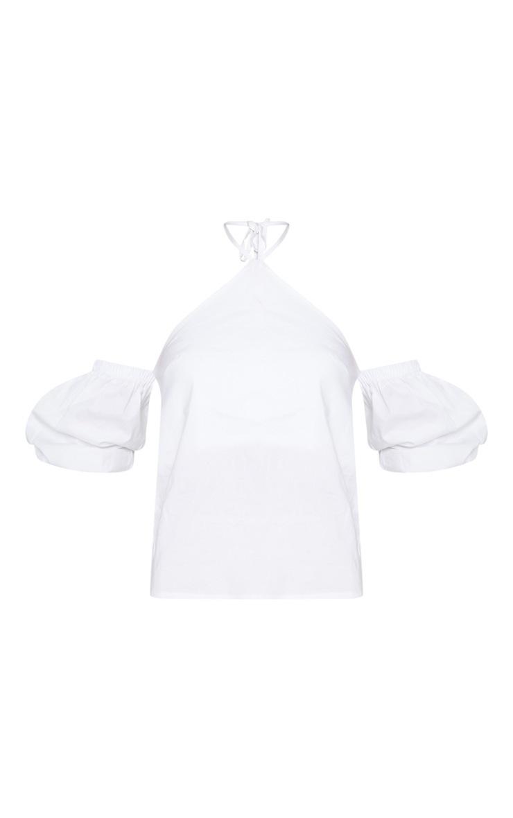 White Halterneck Bardot Blouse 3