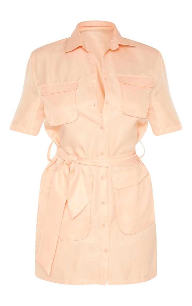 Peach Utility Short Sleeve Shirt Dress 3
