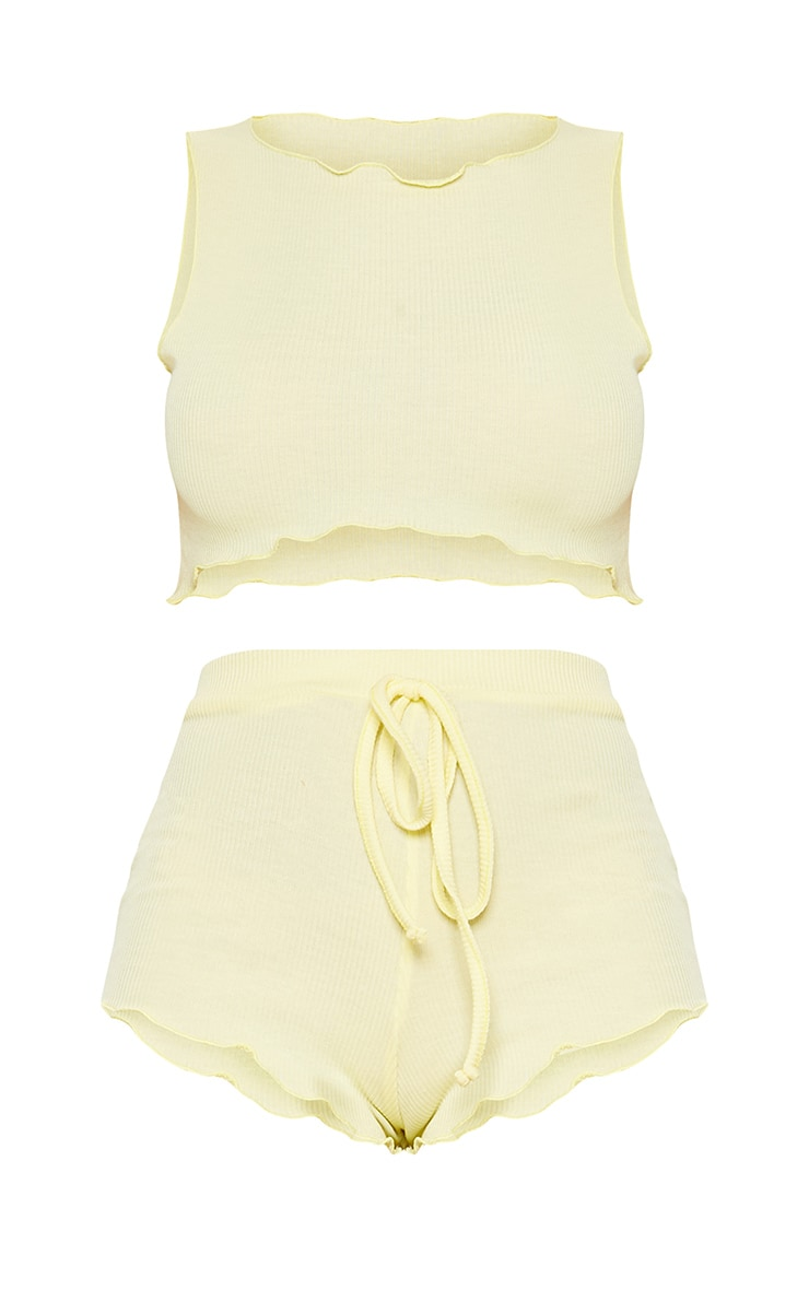 Lemon Ribbed Frill Edge Short PJ Set 3