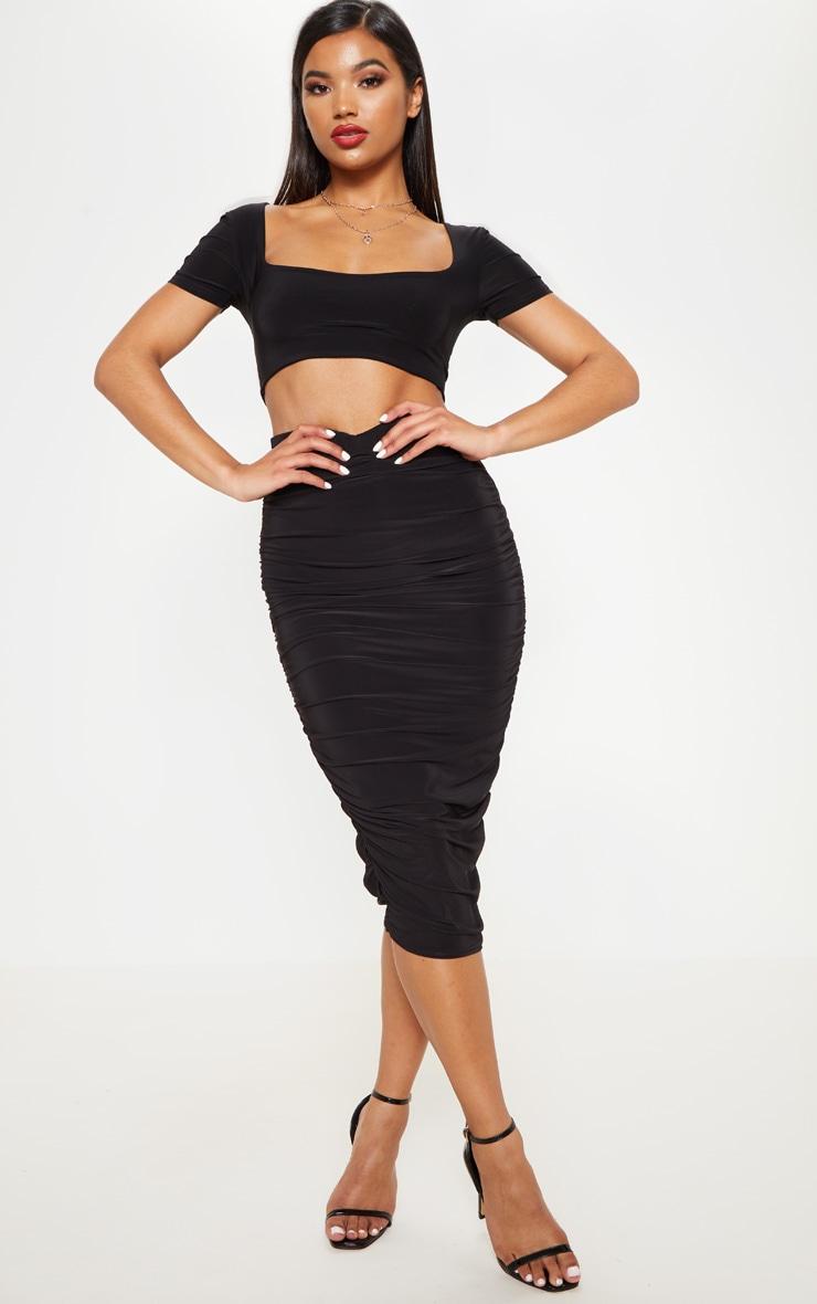 Black Slinky Short Sleeve Crop Top 4