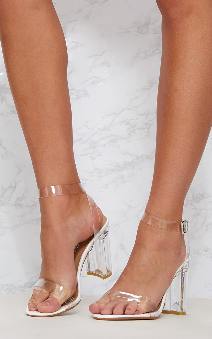 White Clear Block Heel Sandal 2