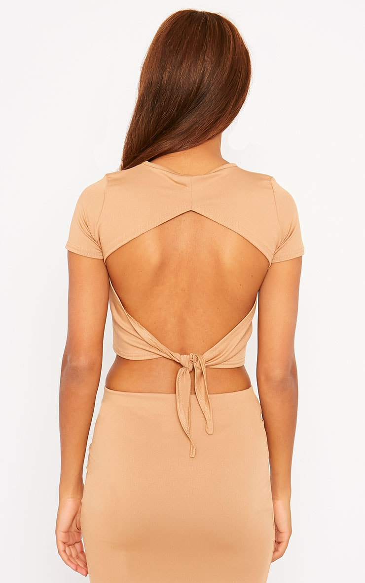 Klarisa Camel Tie Back Top 2