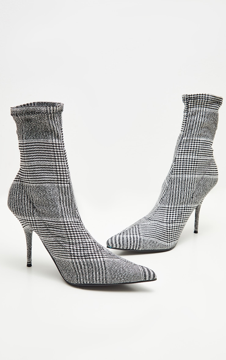 Grey Check Sock Ankle Boot 3