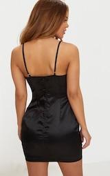 Petite Black Satin Strappy Straight Neck Bodycon Dress 2