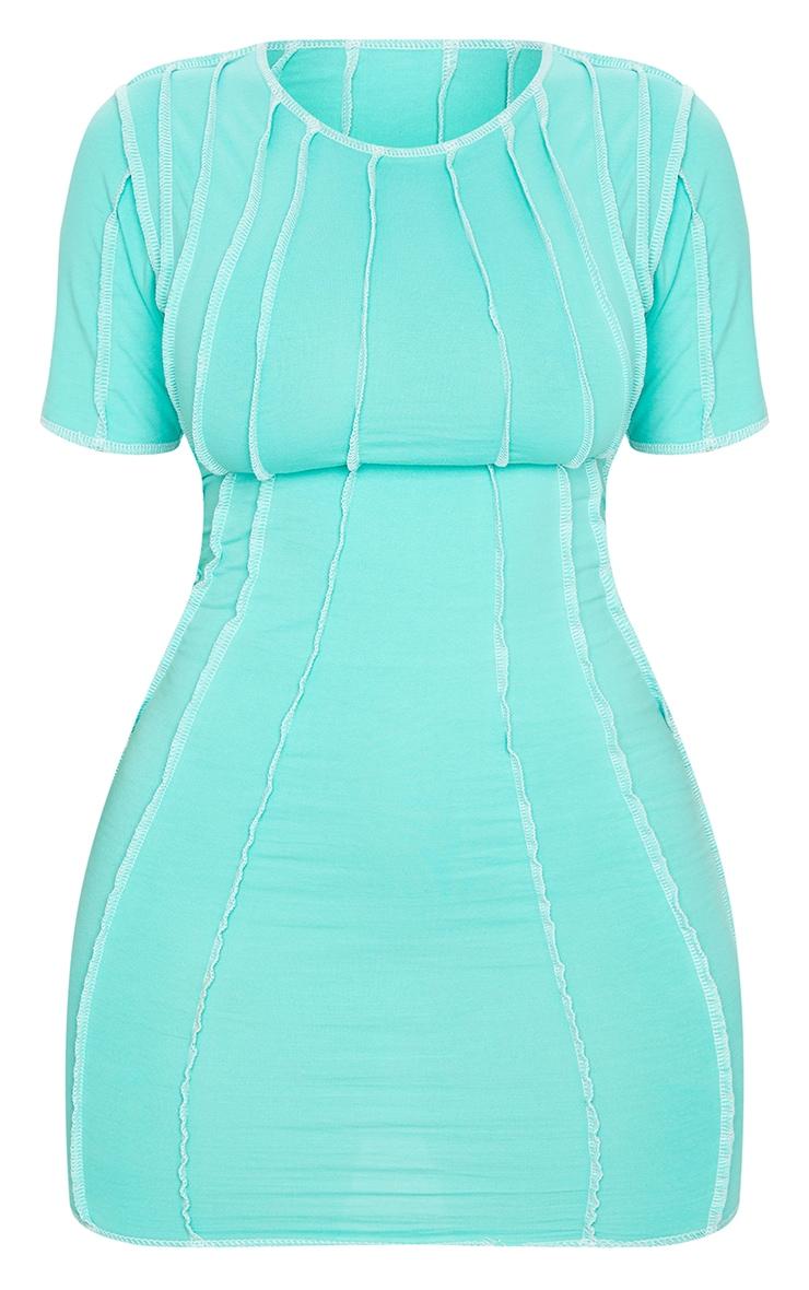 Shape Mint Contrast Seam Detail Short Sleeve Bodycon Dress 5