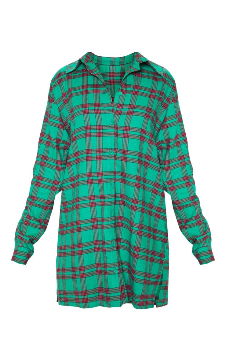 PRETTYLITTLETHING Green Slogan Checked Shirt Dress 3