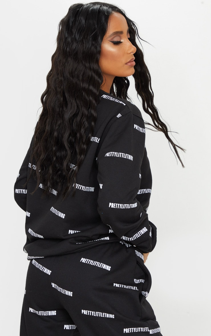 PRETTYLITTLETHING Black Printed Crew Neck Sweatshirt 2