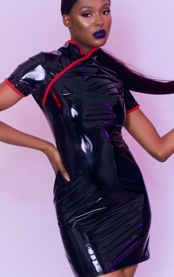 Tall Black Vinyl PU Collar Detail Mini Dress 4
