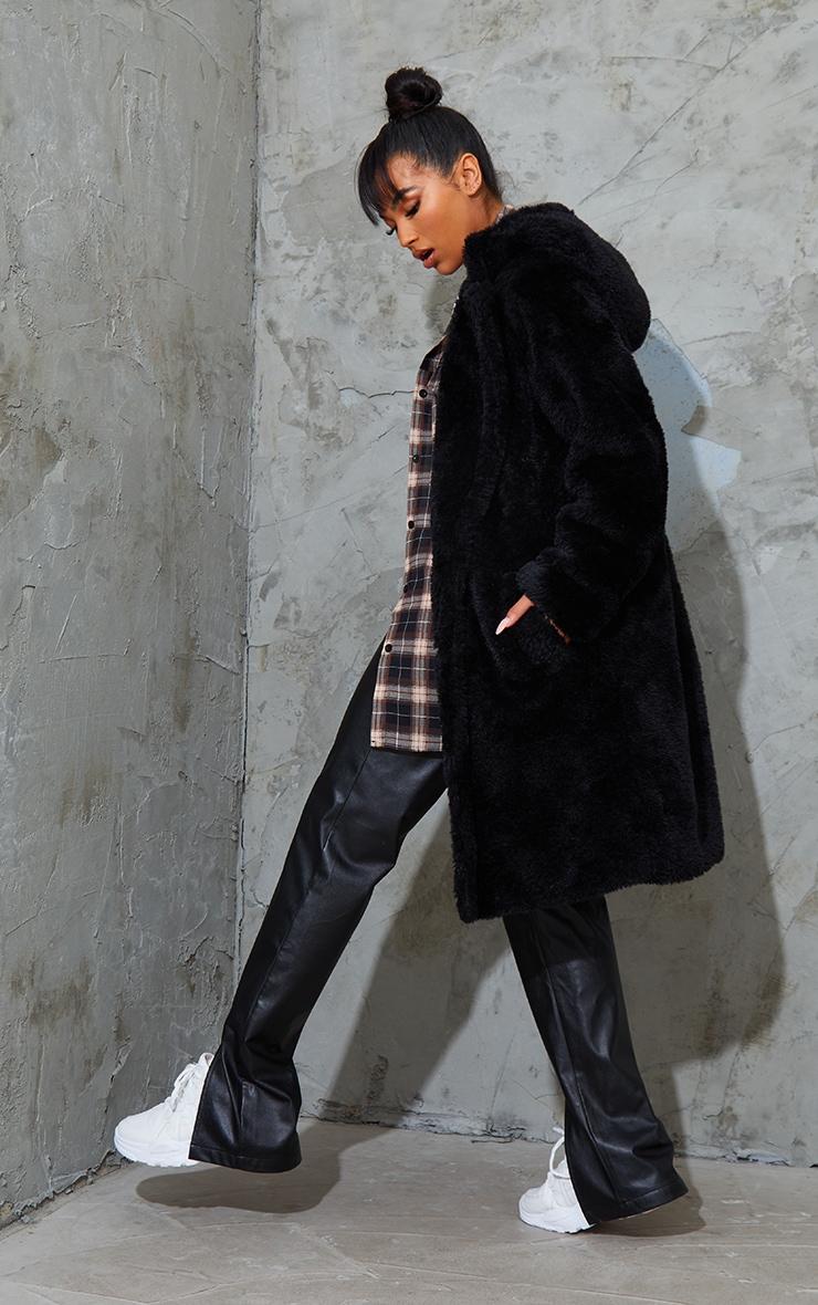 Black Teddy Faux Fur Hooded Coat 2