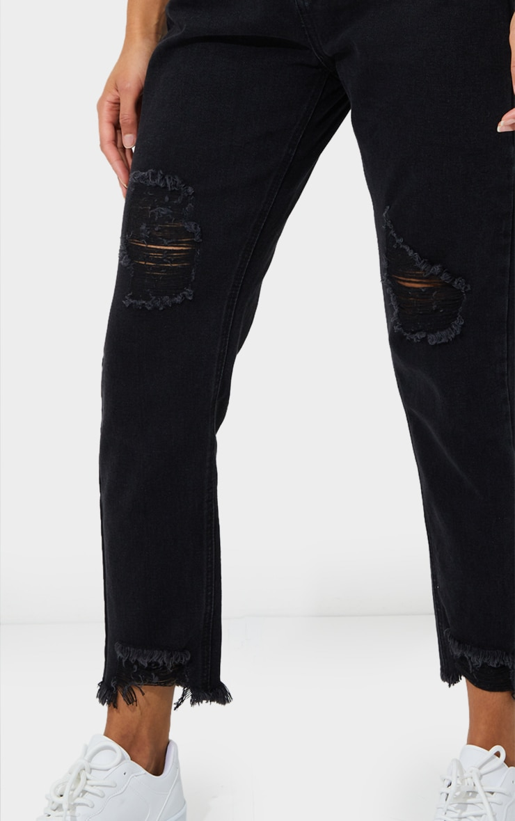 PRETTYLITTLETHING Washed Black Ripped Hem Knee Rip Slim Fit Mom Jeans 4