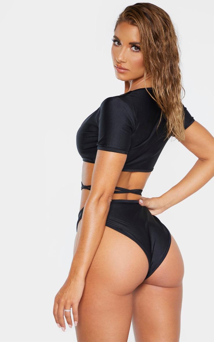Black Wrap Around Knot Front Bikini Top 2