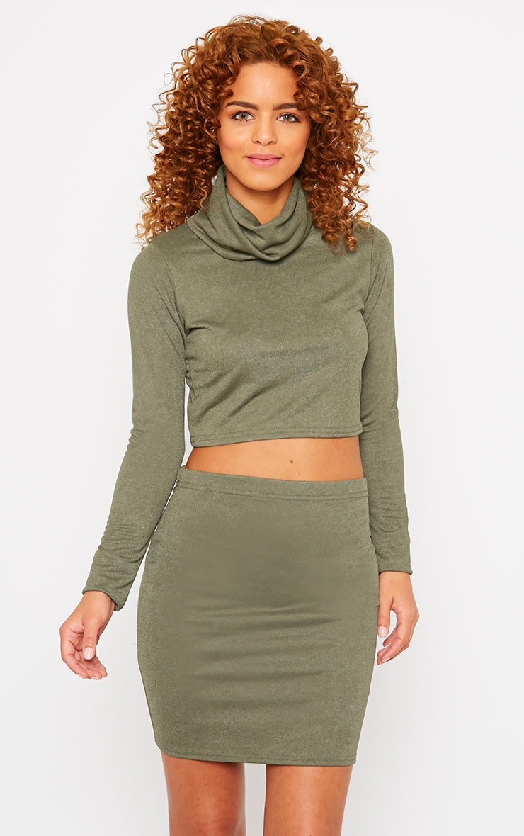 Emilia Khaki Crepe Roll Neck Crop Top  4
