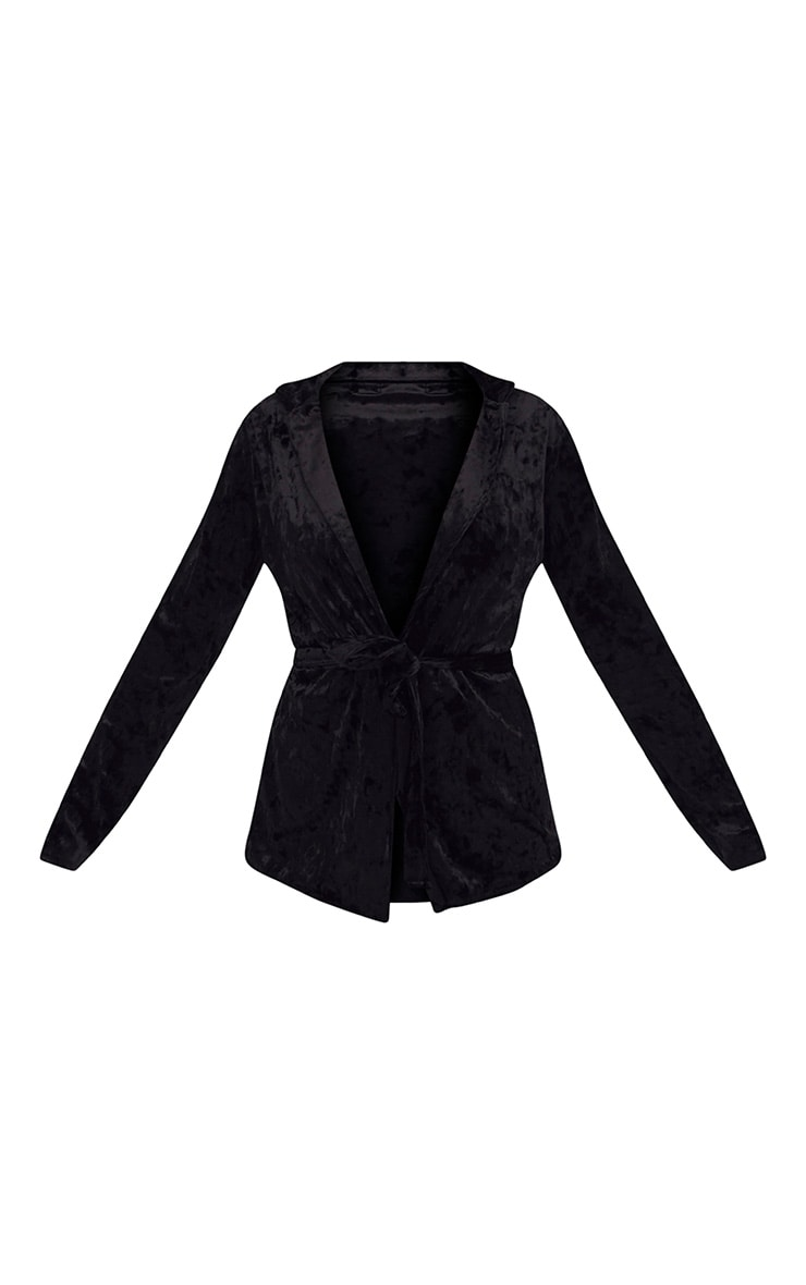 Black Crushed Velvet Belted Blazer  3