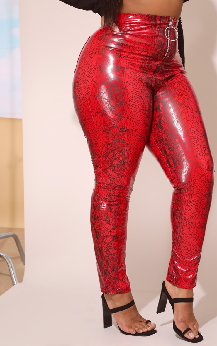 Plus Red Snake Vinyl Zip Front Trousers 2