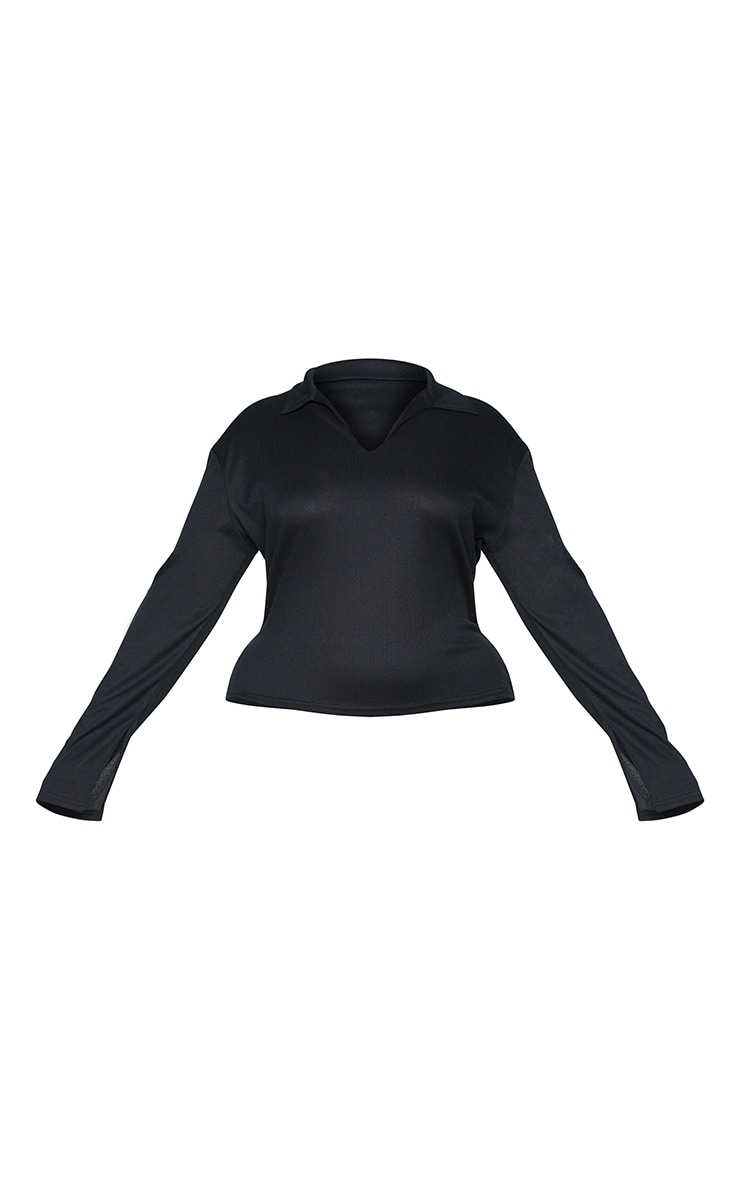 Plus Black Ribbed Collared Long Sleeve Top 5