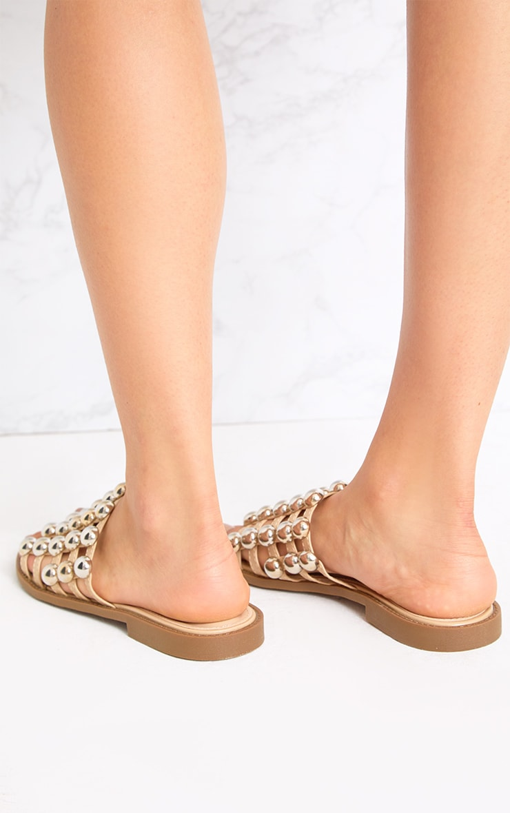 Nude Large Studded Slides 2