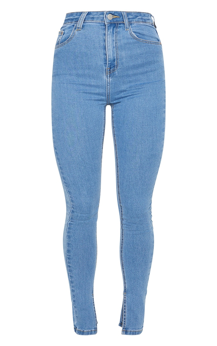 Light Blue Wash Side Split Hem Skinny Jeans 5