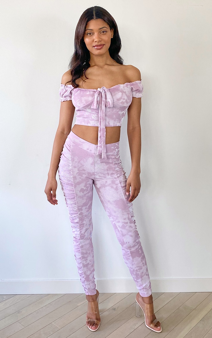 Tall Mauve Tie Dye Ruched Front Seam Leggings 1