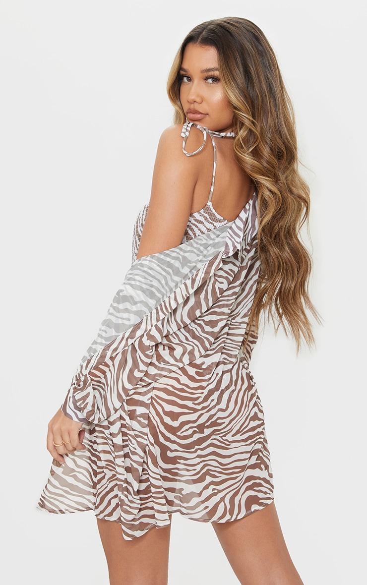 Brown Zebra Oversized Beach Shirt 2