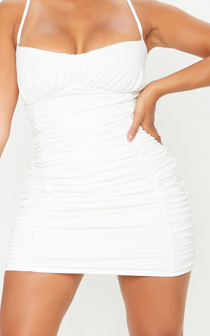 Shape Cream Slinky Extreme Ruched Bodycon Dress 3