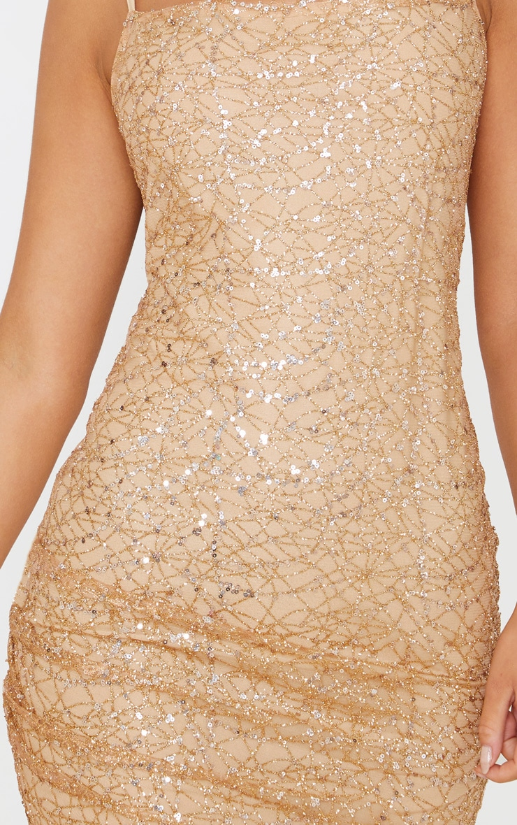 Rose Gold Strappy Sequin Glitter Detail Bodycon Dress 5