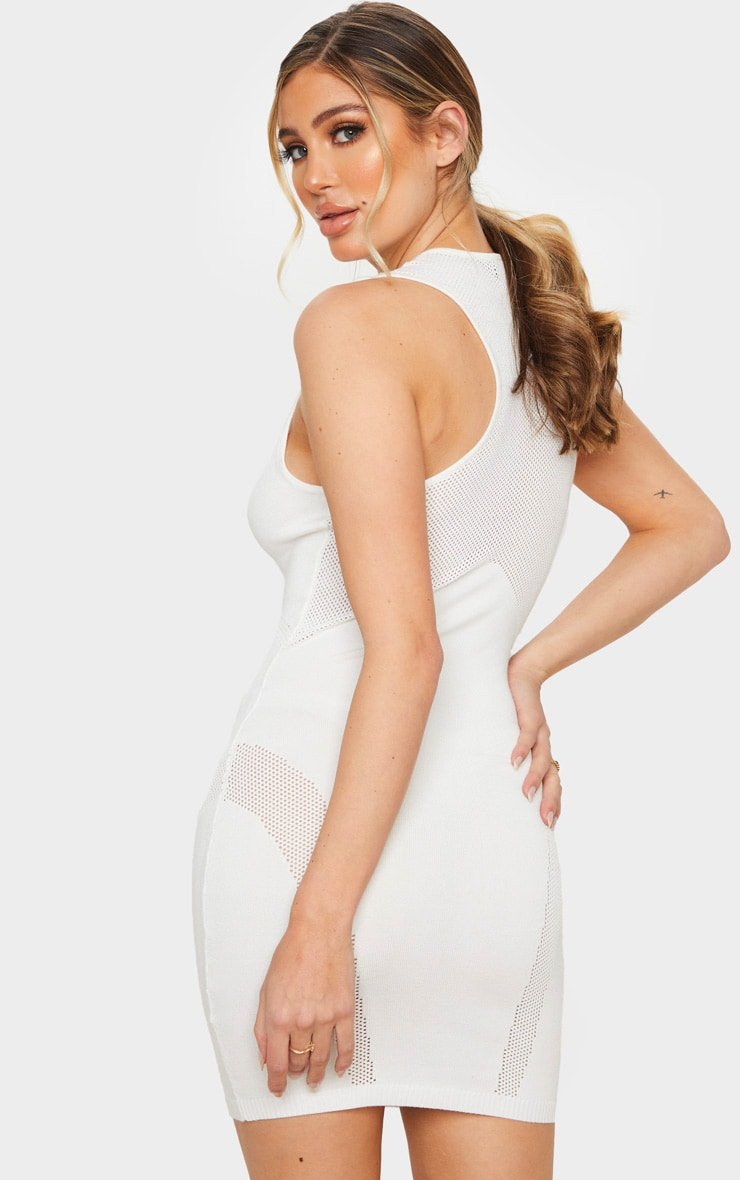 Cream Cut Out Detail Knitted Bodycon Mini Dress 2