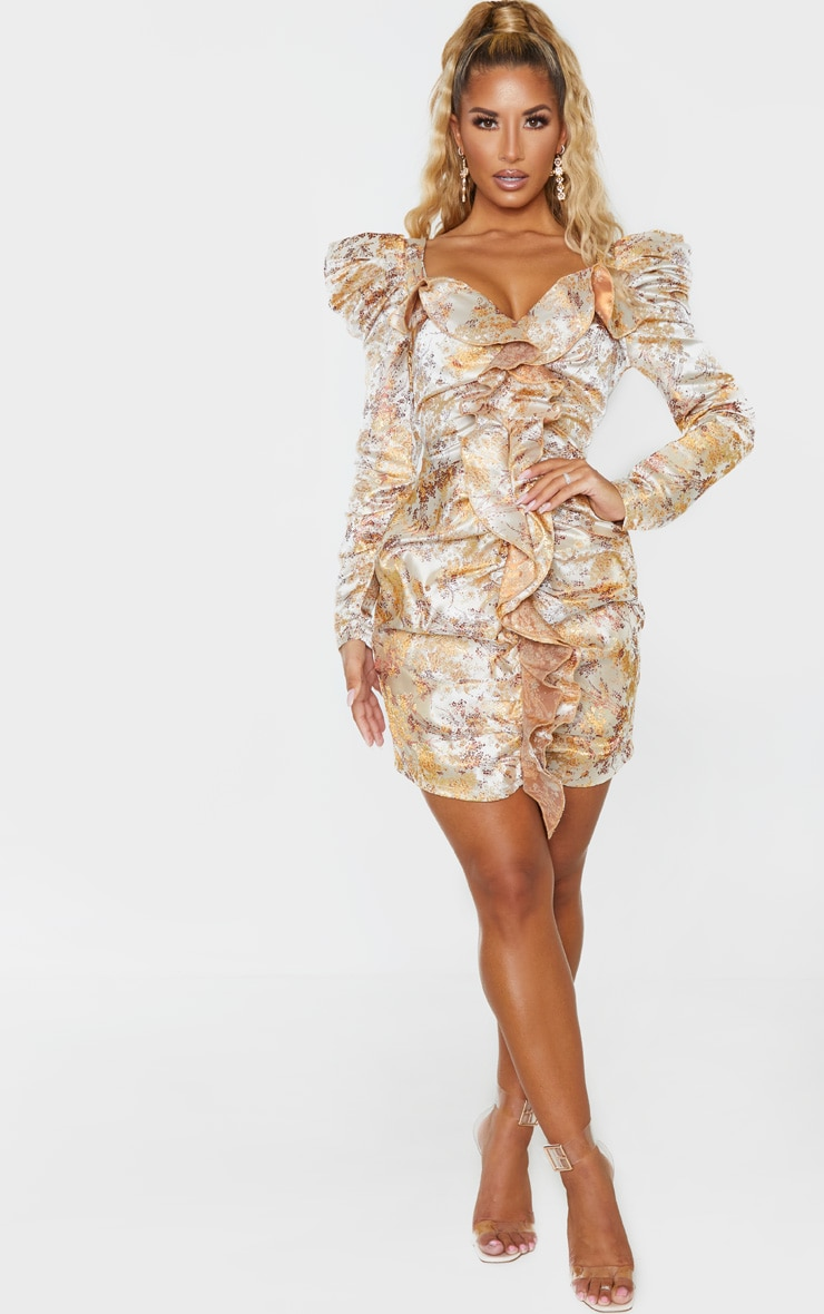 Champagne Jacquard Floral Ruffle Detail Long Sleeve Bodycon Dress 1