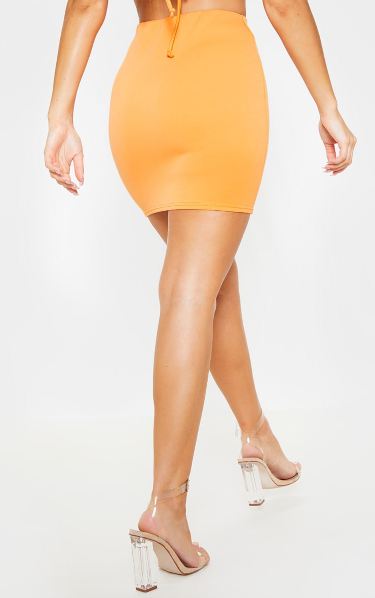 Orange Crepe Bodycon Skirt 4