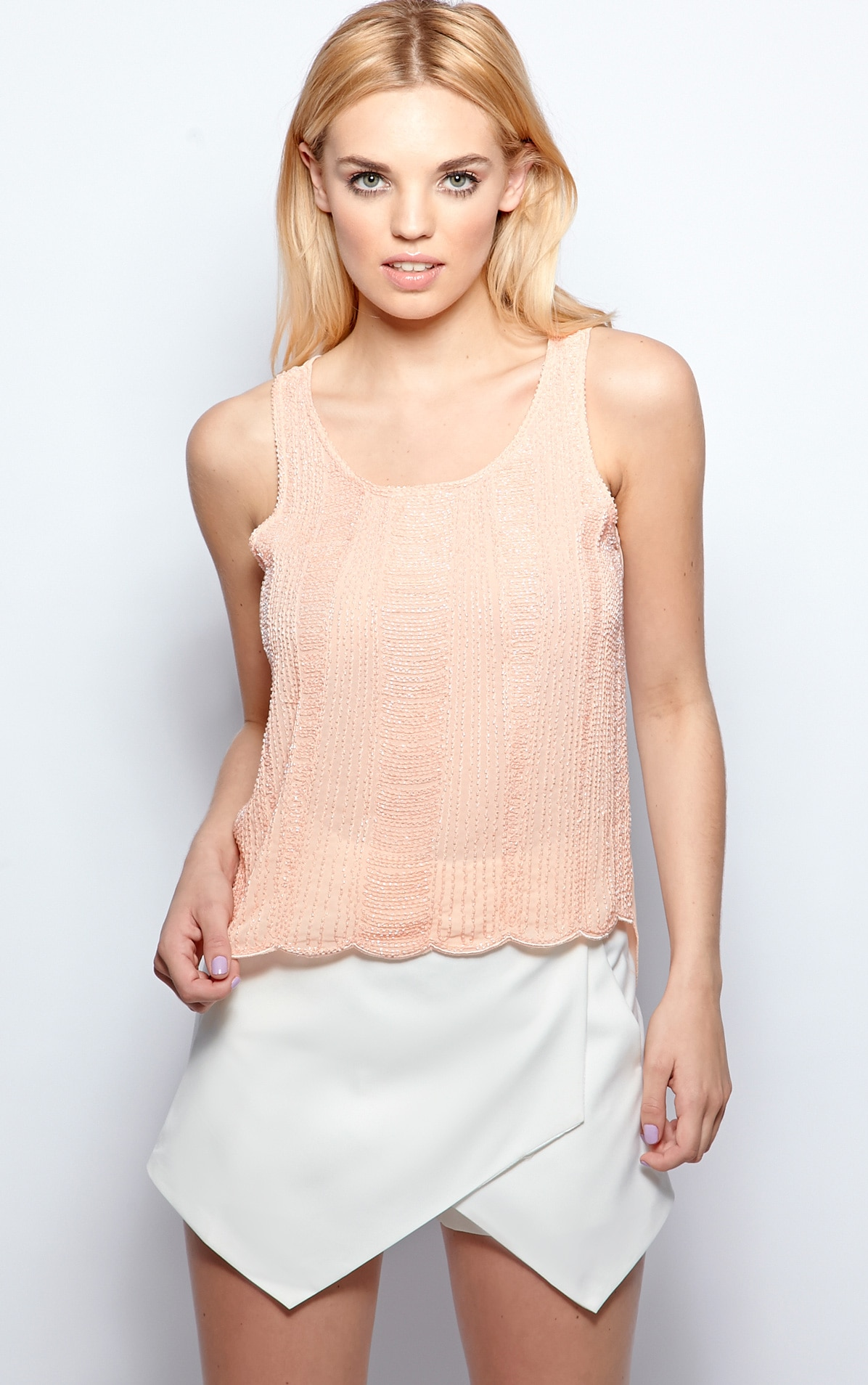 Raine Peach Embellished Cami  1