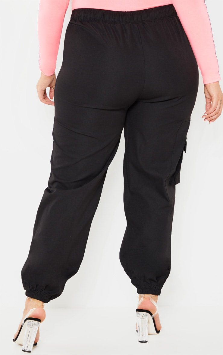 Plus Black Woven Buckle Detail Cargo Pants 4