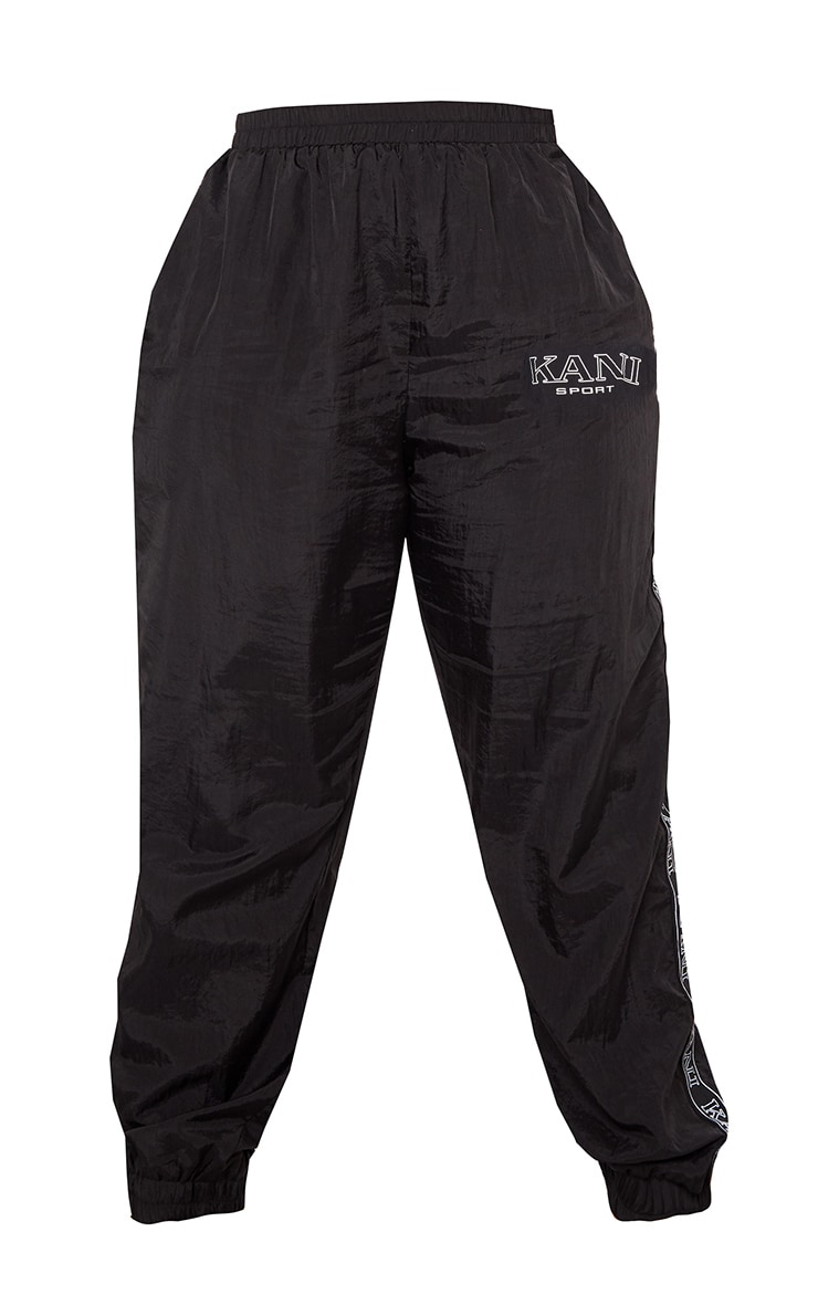KARL KANI Black Tape Printed Shell Joggers 5