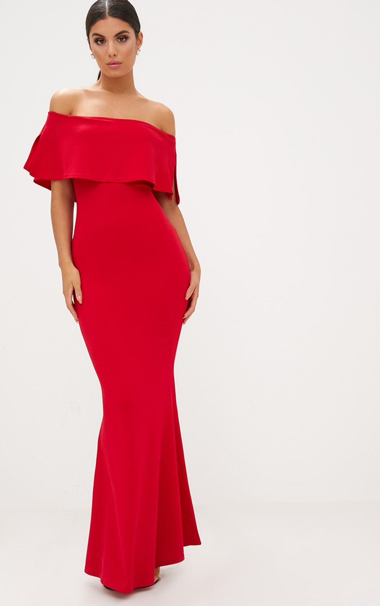 Red Bardot Frill Fishtail Maxi Dress 1