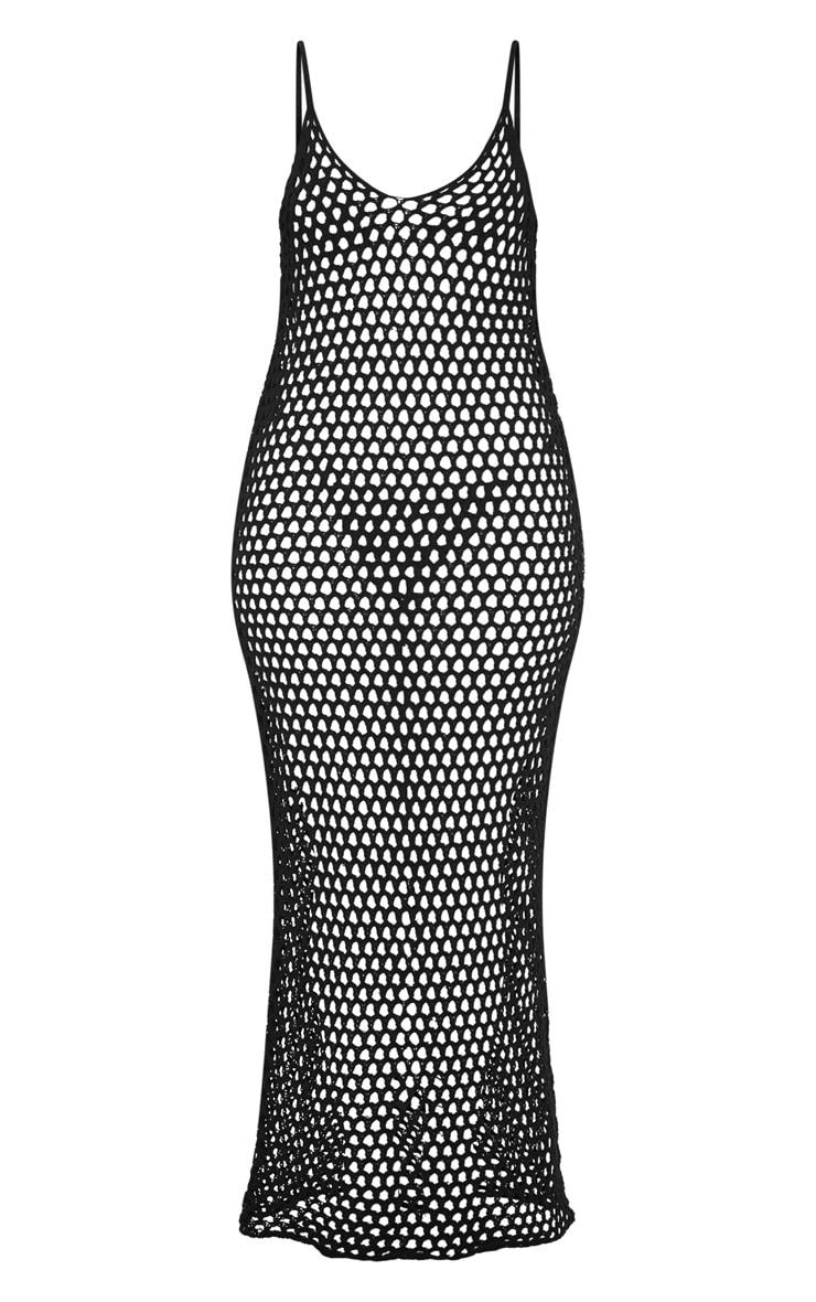 Black Crochet Open Knit Midi Dress 3