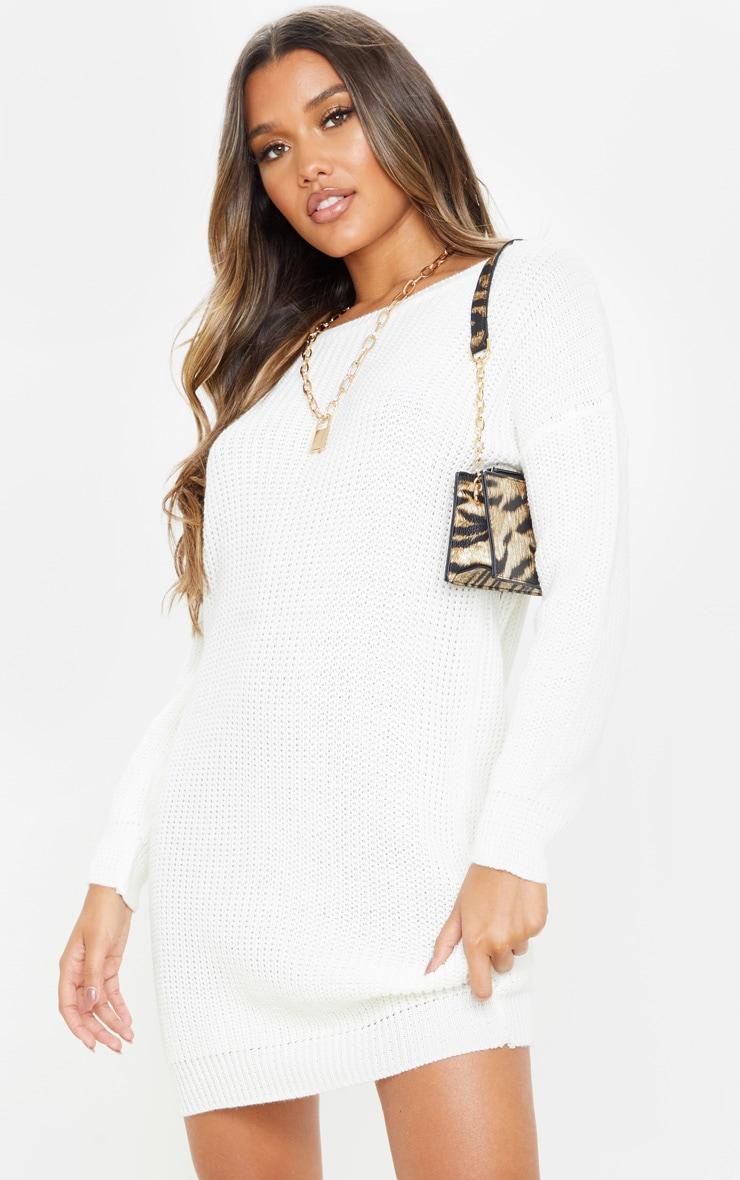 Ivory Basic Knit Sweater Dress 1