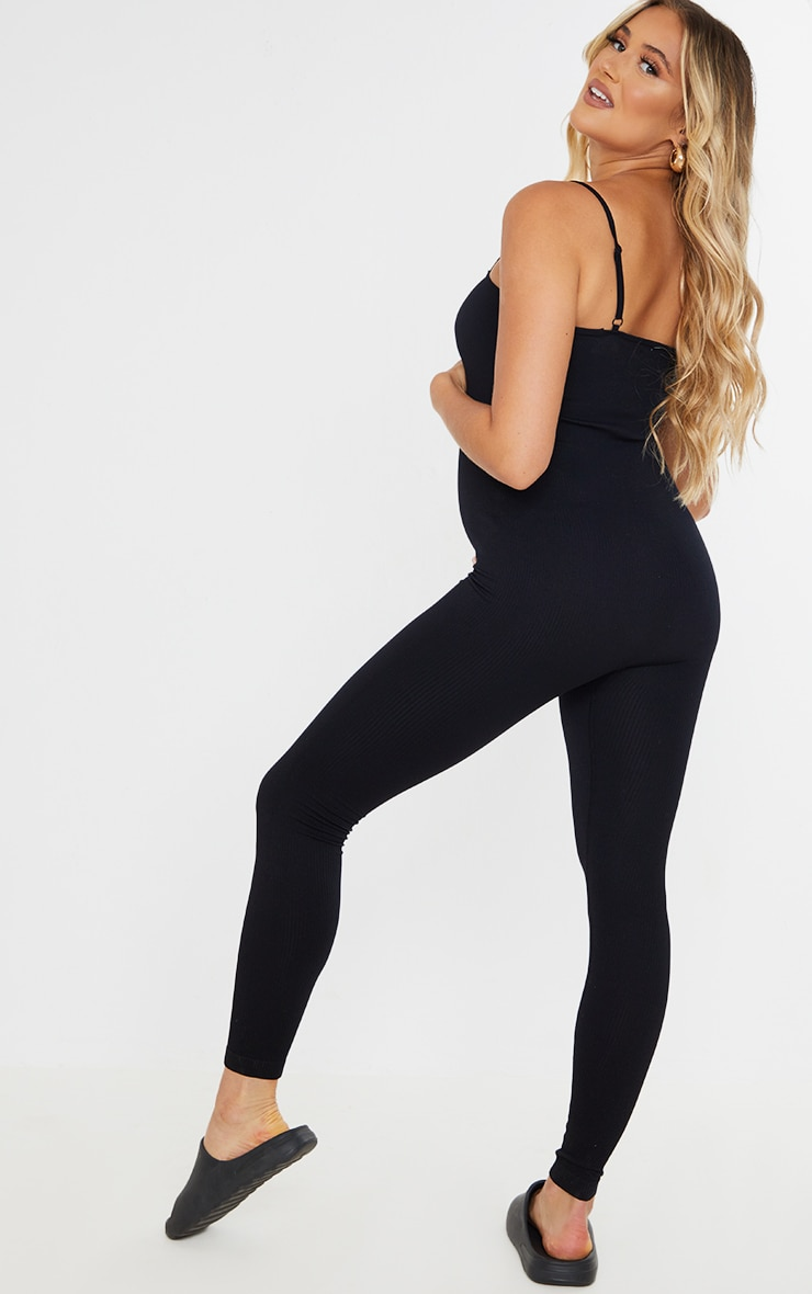 Maternity Black Contour Ribbed Strappy Jumpsuit 2