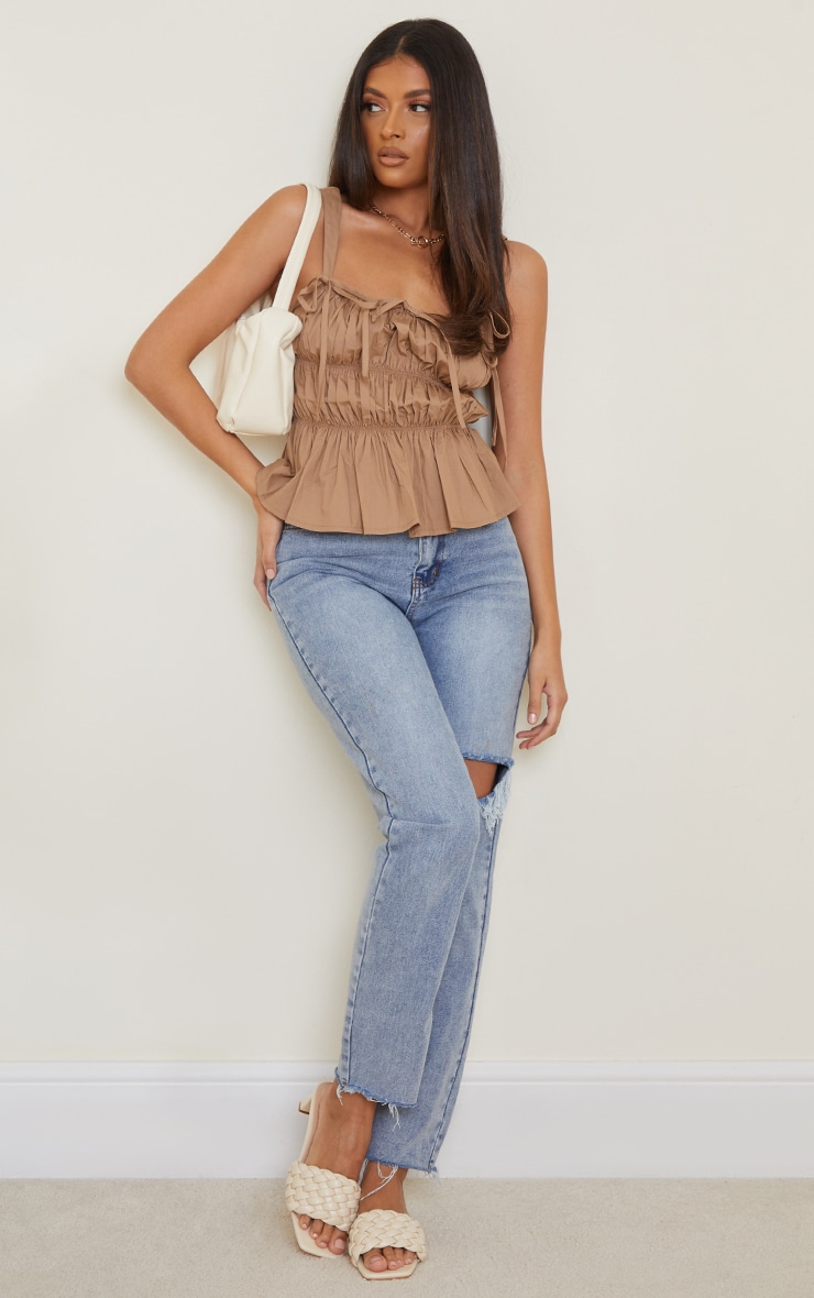 Camel Woven Extreme Ruched Tie Detail Frill Hem Top 3