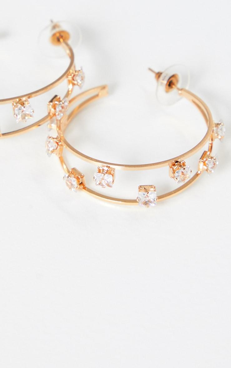 Gold Crystal Studded Double Medium Hoops 3